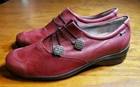 Fidelio Helga H Magic Stretch Red Leather Shoes Silver Accent Austrian Size 7.5