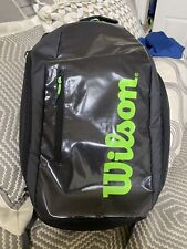 Wilson Tennis Backpack Black & Green Excellent Shape