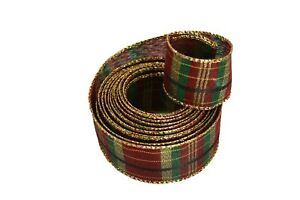 4 Yards Rolled-up BURGUNDY & HUNTER PLAID With GOLD WIRED Edge Ribbon 1-1/2""