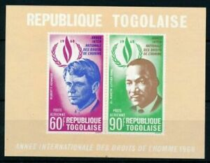 Togo 1968 Imperf MNH SS, Nobel Martin Luther, Robert Kennedy, Airmail