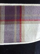 "LAURA ASHLEY HIGHLAND CHECK col : GRAPE 1pr TIE-Backs 26"" Piped top & bottom NEW"