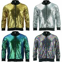 Bomber Jacket Shiny Sequin Glitter Sparkling Lame FIREFLY GOLD SILVER RAINBOW