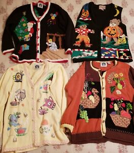 Vtg Collectible Storybook Knits Holiday Sweaters Thanksgiving Easter Christmas