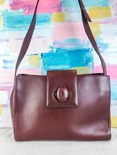 $800 CARTIER Maroon Bordeaux Leather Turnlock Flap CC Logo Shoulder Bag SALE!