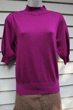 NWT Ann Taylor Fuchsia Puff Sleeve Mock Neck Sweater L