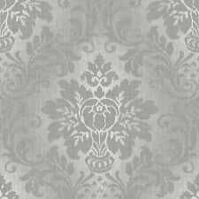 Grandeco Wallpaper - Luxury Royal Damask - Fabric - Grey Silver Glitter - A10904