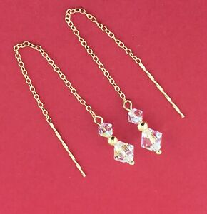 9ct Gold .375 Swarovski Elements AB Crystal Pull Through Drop Dangle Earrings