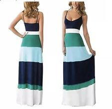 Tenworld Summer Blue White Striped Tank Maxi Dress Size Small