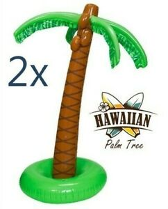 """(2) INFLATABLE PALM TREES 66"""" Tall Luau Party Decoration Jungle Beach Tropical"""