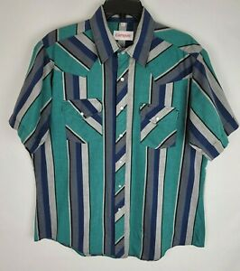 Vintage Campus Western Pearl Snap Multi Color Striped Large Short Sleeve Shirt