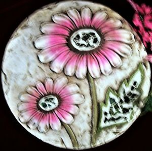 """NWT 10.38"""" Stepping Stone or Table Decor-Pink Spring Flowers, Mirror Mosaic Trim"""