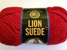 Lion Brand Suede Yarn 1 Skein  SCARLET   Polyester   Bulky  Discontinued
