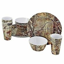 12-Piece Melamine Tableware ~ Camo Dishes ~ New ~ Free Shipping