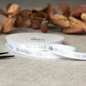 Mr & Mrs Silver Wedding Ribbon | Favours Gift Wrapping Craft Grosgrain 20m