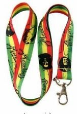 "Bob Marley Reggae Artist Rasta Name and Face 19"" Lanyard Badge Holder"