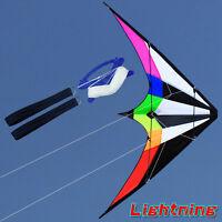 NEW 1.8m Rainbow stunt Power Kite outdoor Sport fun Toys dual line
