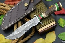 """10.4"""" Custom Damascus Steel Hunting Knife Handmade With Stag Horn Handle (Z195)"""