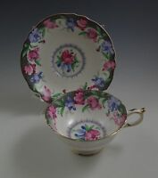 PARAGON BONE CHINA SWEET PEA FOOTED CUP  AND SAUCER  GOLD RIM ENGLAND