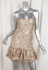 D&G by DOLCE & GABBANA Womens Beige Metallic Jacquard Strapless Dress 36/0 XS