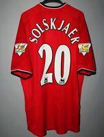 MANCHESTER UNITED 2000 2001 2002 HOME FOOTBALL SHIRT JERSEY UMBRO #20 SOLSKJAER