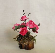 Fairy Garden Miniature Doll House BRIGHT PINK ROSES in Pine cone Flower POT