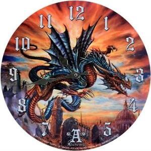 ALCHEMY GOTHIC HIGHGATE HORROR DRAGON WALL CLOCK