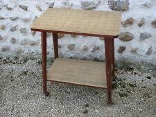 Ancienne petite table d'appoint de salon à roulettes vintage french old table