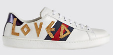 Gucci Mens White New Ace Loved Gold Leather Flat Low Top Lace Sneakers G 6.5 7.5