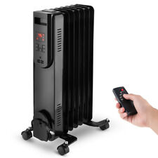 1500W Electric Oil Filled Radiator Portable Space Heater Thermostat Home Office