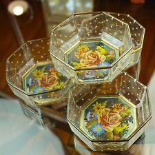 Set of 4 MACKENZIE-CHILDS Octagonal Glass Bowls Garland Floral Perfect Vtg Dots