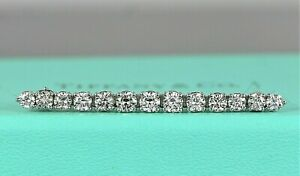 Vintage Rare Tiffany & Co IRID Platinum 1.28ct Round Diamond Tie Bar Pin Brooch