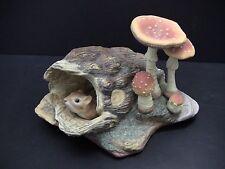 BURGUES Porcelain Chipmunk w/Fly Armanita Mushroom Limited Edition #87 Figurine