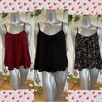 Influence Swing Vest Top Cami Size 8,12,18 Red Black Floral In Crepe New GE66