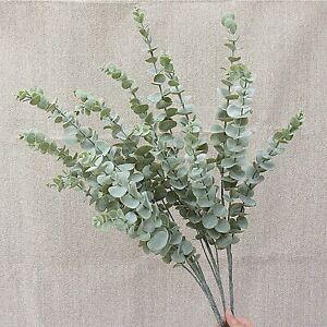 Artificial Soft Rubber Flower Eucalyptus Grass Plant Fake Plastic Leaf–5,3 Forks