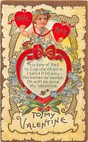 C30/ Valentine's Day Love Holiday Postcard c1910 Nash Series no 2 Cupid Heart 20