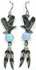 Blue Fire Opal 925 Sterling Silver Eagle & Feather Earrings - made in USA