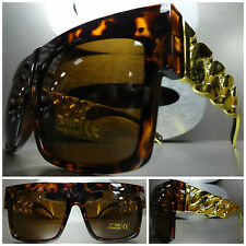 OVERSIZE VINTAGE RETRO Style SUN GLASSES Tortoise & Gold Metal Chain Link Frame