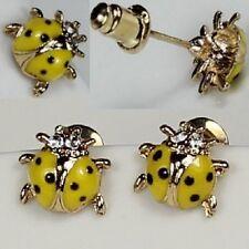 Coccinella Orecchini a farfalla strass giallo nero coccinella color oro NUOVO