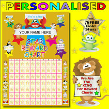 Reward Chart Personalised Plus 75 Free Stickers Gold Metallic Stars
