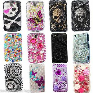 BLING FLOWER COOL DIAMANTE SKULL CASE COVER 4 MOBILE PHONES IPHONE GALAXY 6 7 8