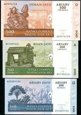 Madagascar - 100, 200 and 500 Ariary - Set of 3 UNC Currency Notes