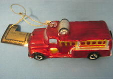 Firetruck Emergency Vehicle Hook Ladder Christmas Holiday Red Glass Ornament