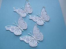 10 Die Cut 3D Farfalla topper GLITTER BIANCO/carta bianca