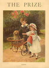 Playmates, Dog In Wicker Buggy, Doll, Vintage, 1904 Antique Art Print, Cute !