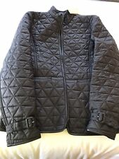 New Auth. Burberry Women Quilted Jacket Leather Trim Nova Check Black M $695