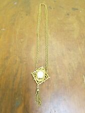 Vintage Baroness 17 Jewels Pendant Watch Cameo Necklace Double Chain