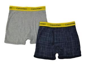Calvin Klein Boys Gray & Navy 2 Pack Boxer Briefs Size 4/5 6/7 8/10 12/14 16/18