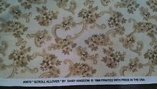 Vtg Daisy Kingdom Sewing Fabric 3670 Scroll Allover Tan Brown Floral 2.9 Yds USA