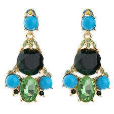 Boucles d`Oreilles Clous Doré Chandelier Turquoise Vert Emeraude Retro AA19