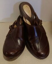 Clarks Artisan Collection Brown Leather Mule Slip-on Heel Shoe Women Size 9 M